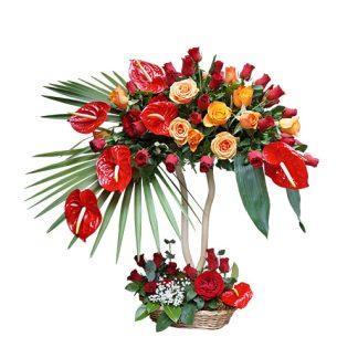 Vatreni tonovi cveća - cvetni aranžman